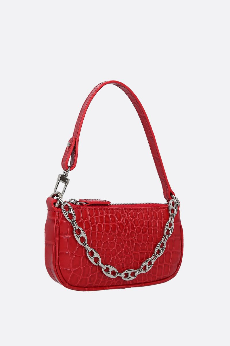 BY FAR: Rachel mini crocodile embossed leather handbag Color Red_2
