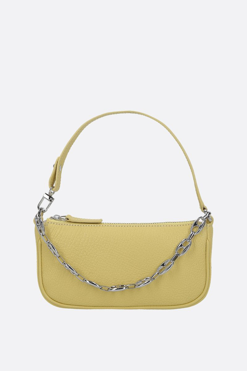 BY FAR: Rachel mini grainy leather handbag Color Yellow_1