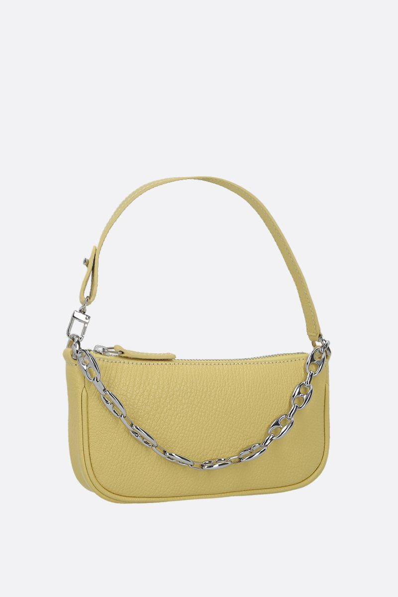 BY FAR: Rachel mini grainy leather handbag Color Yellow_2
