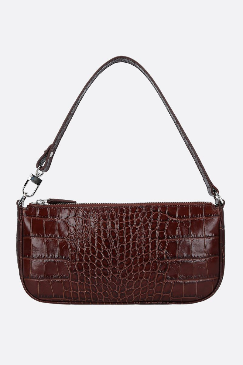 BY FAR: Rachel crocodile embossed leather shoulder bag Color Brown_1