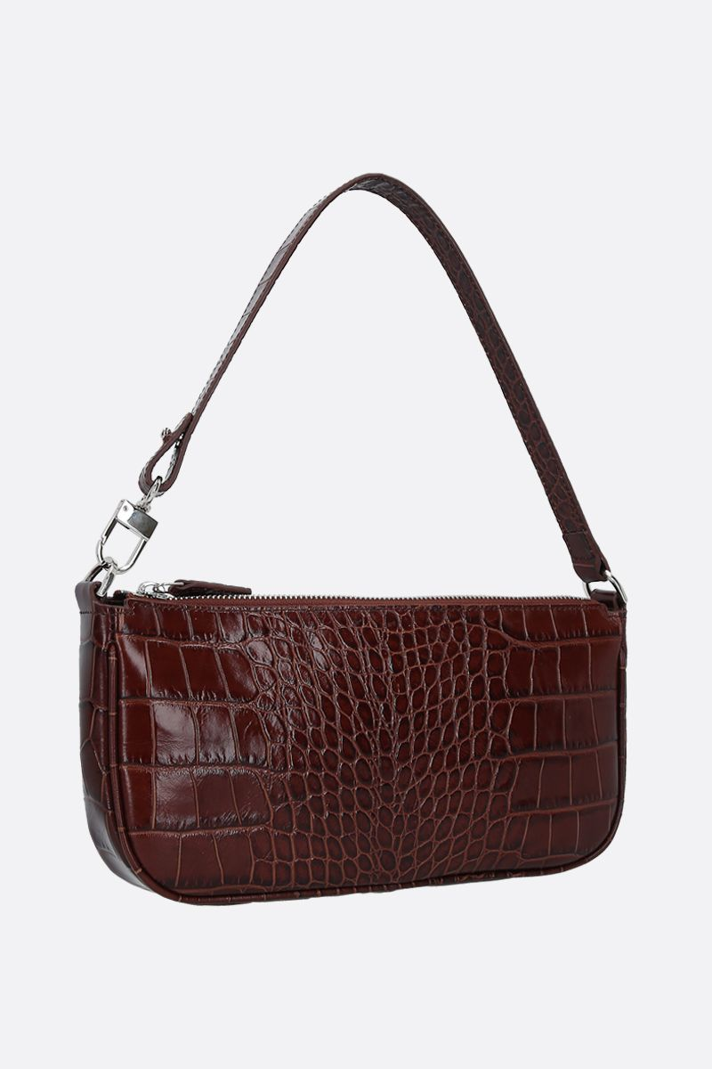 BY FAR: Rachel crocodile embossed leather shoulder bag Color Brown_2