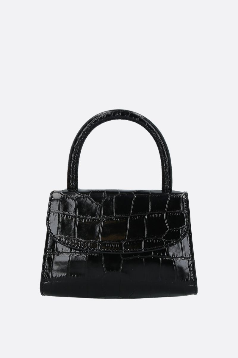 BY FAR: crocodile embossed leather mini handbag Color Black_1