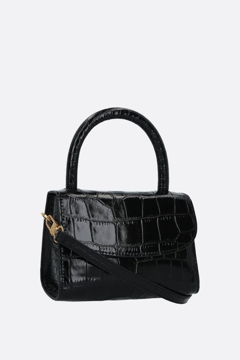 BY FAR: crocodile embossed leather mini handbag Color Black_2