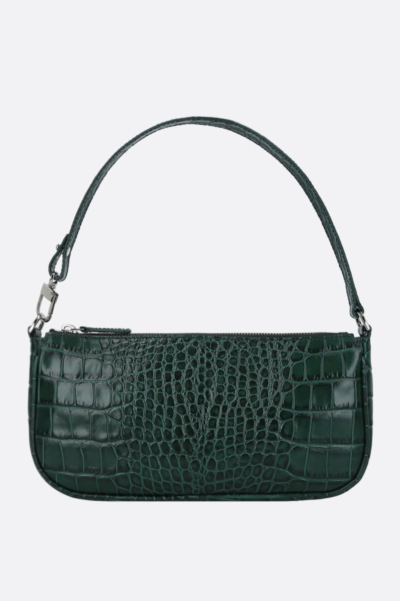 BY FAR: Rachel crocodile embossed leather shoulder bag Color Green_1