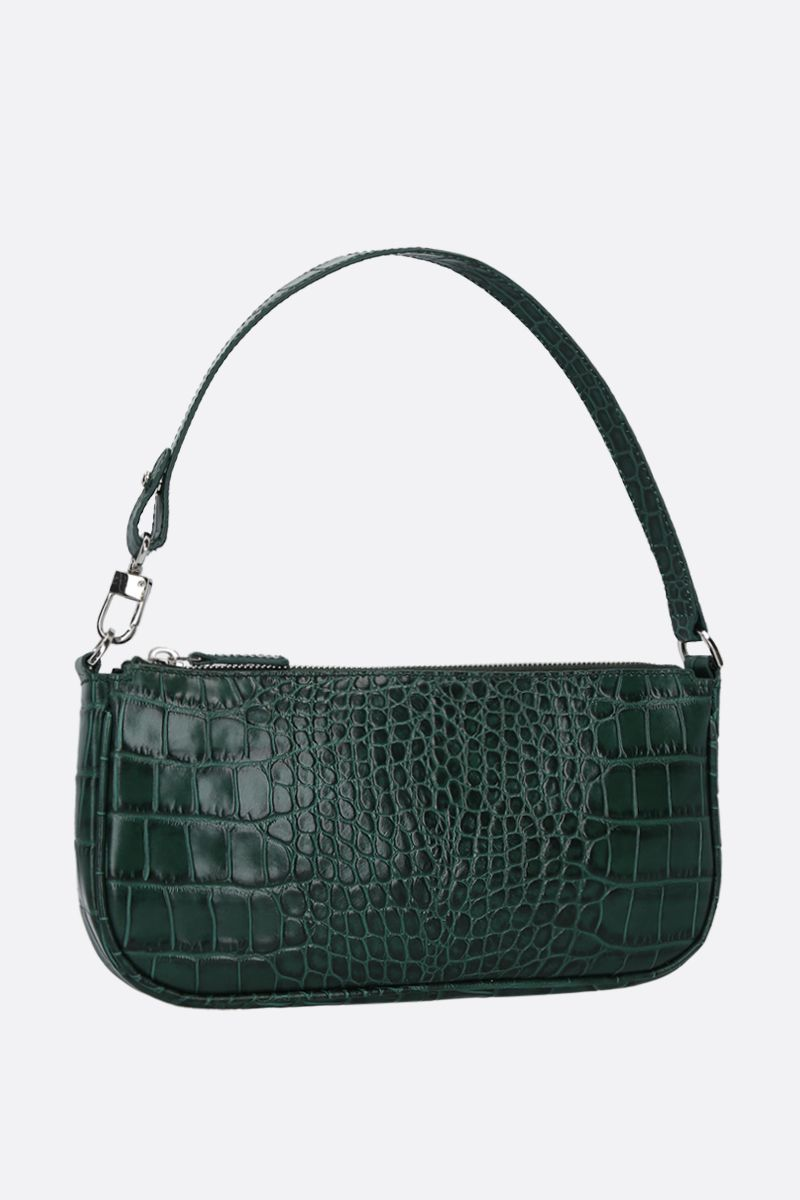 BY FAR: Rachel crocodile embossed leather shoulder bag Color Green_2