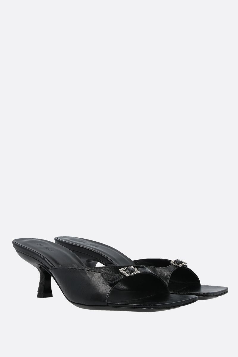 BY FAR: Erin crinkled leather mule sandals Color Black_2