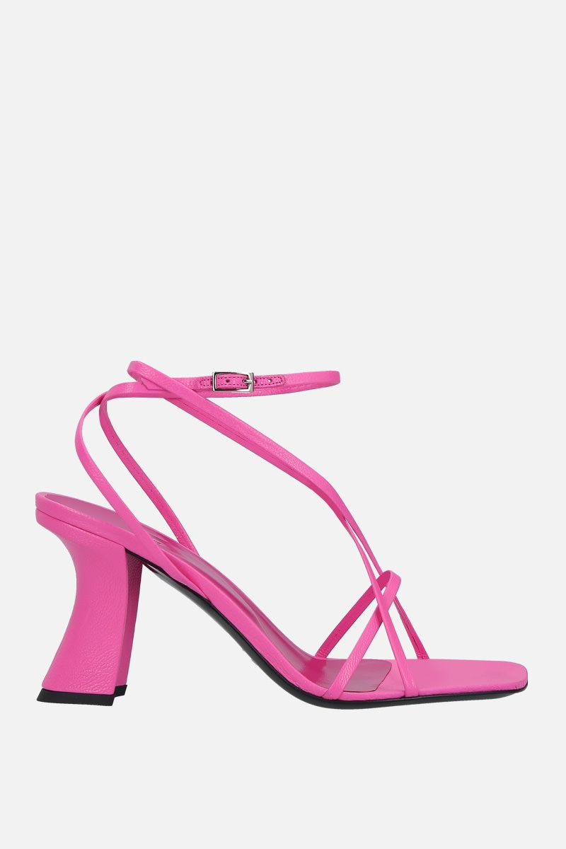 BY FAR: Kersti grainy leather sandals Color Pink_1