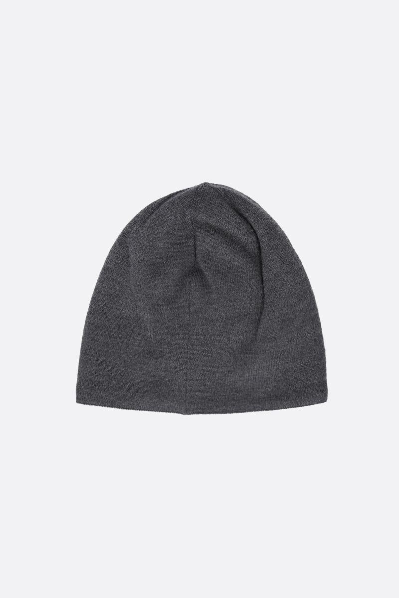 CANADA GOOSE: logo badge-detailed stretch wool beanie Color Grey_2