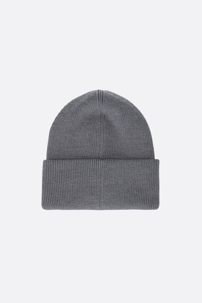 CANADA GOOSE: logo badge-detailed wool beanie Color Grey_2