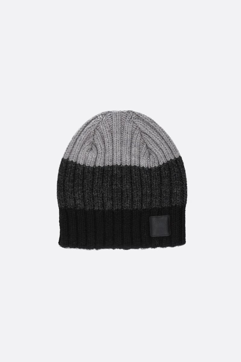 CANADA GOOSE: striped wool beanie Color Black_1