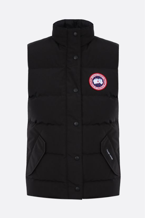 CANADA GOOSE: Freestyle technical canvas sleeveless down jacket Color Black_1