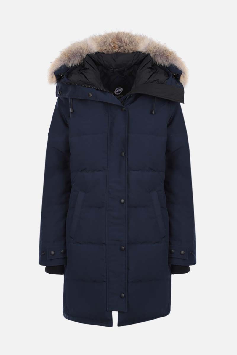 CANADA GOOSE: parka imbottio Shelburne in canvas tecnico Colore Blu_1