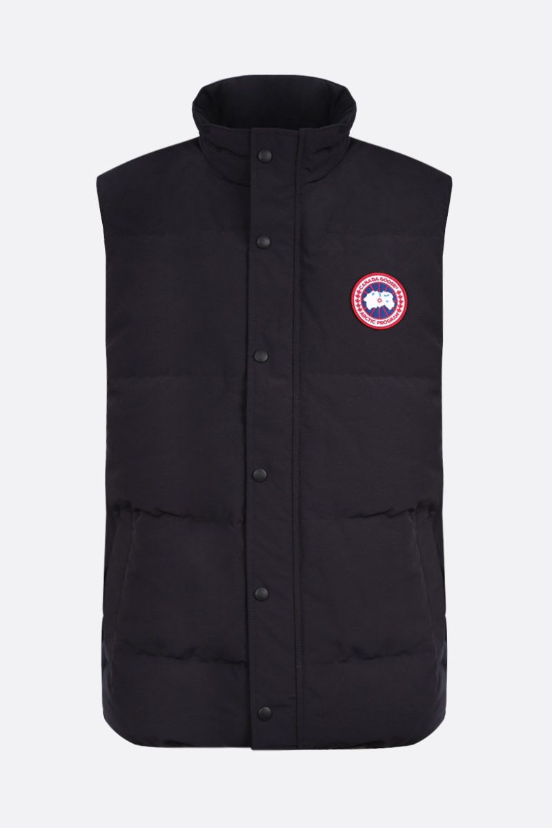 CANADA GOOSE: Garson technical canvas sleeveless down jacket Color Blue_1