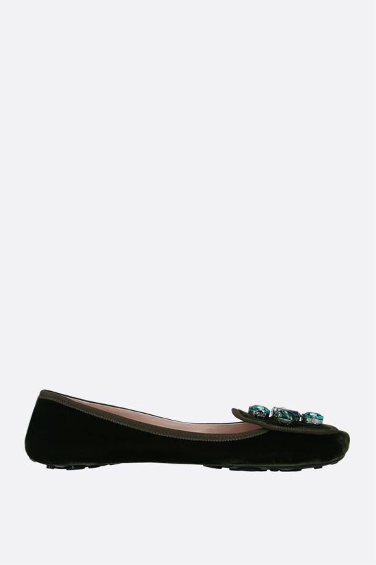 CAR SHOE: crystal-embellished velvet ballerinas Color Green_1