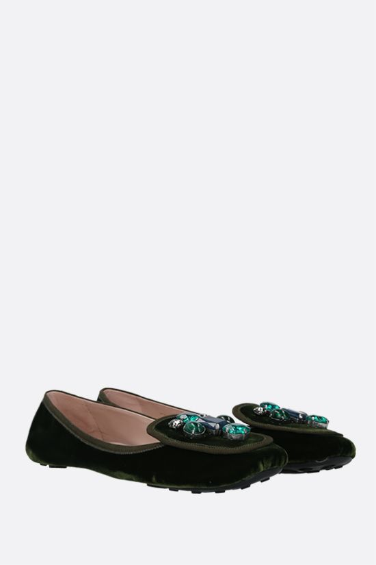 CAR SHOE: crystal-embellished velvet ballerinas Color Green_2
