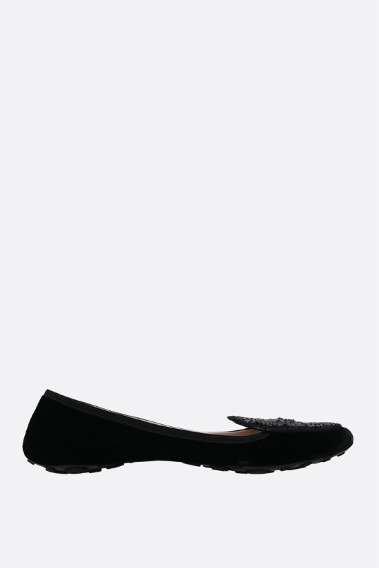 CAR SHOE: sequin-embroidered velvet ballerinas Color Black_1