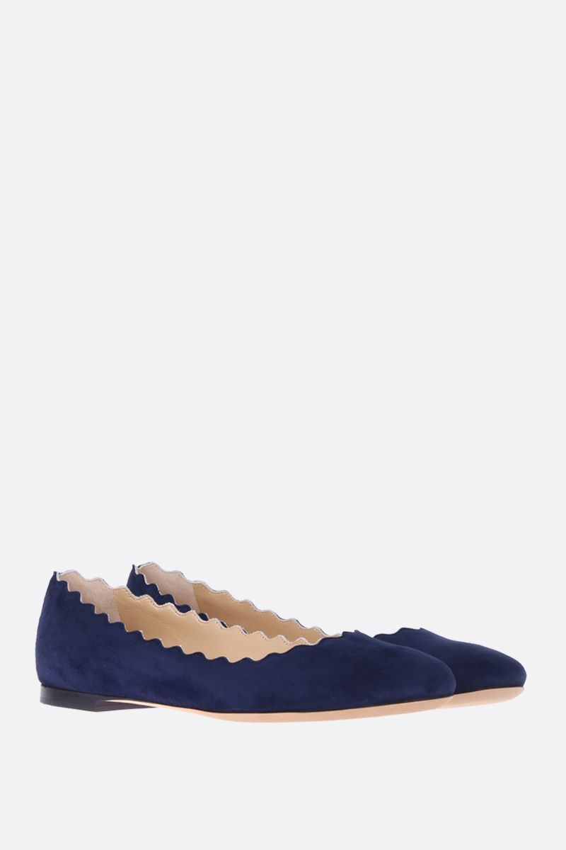 CHLOÈ: Lauren suede ballerinas Color Blue_2