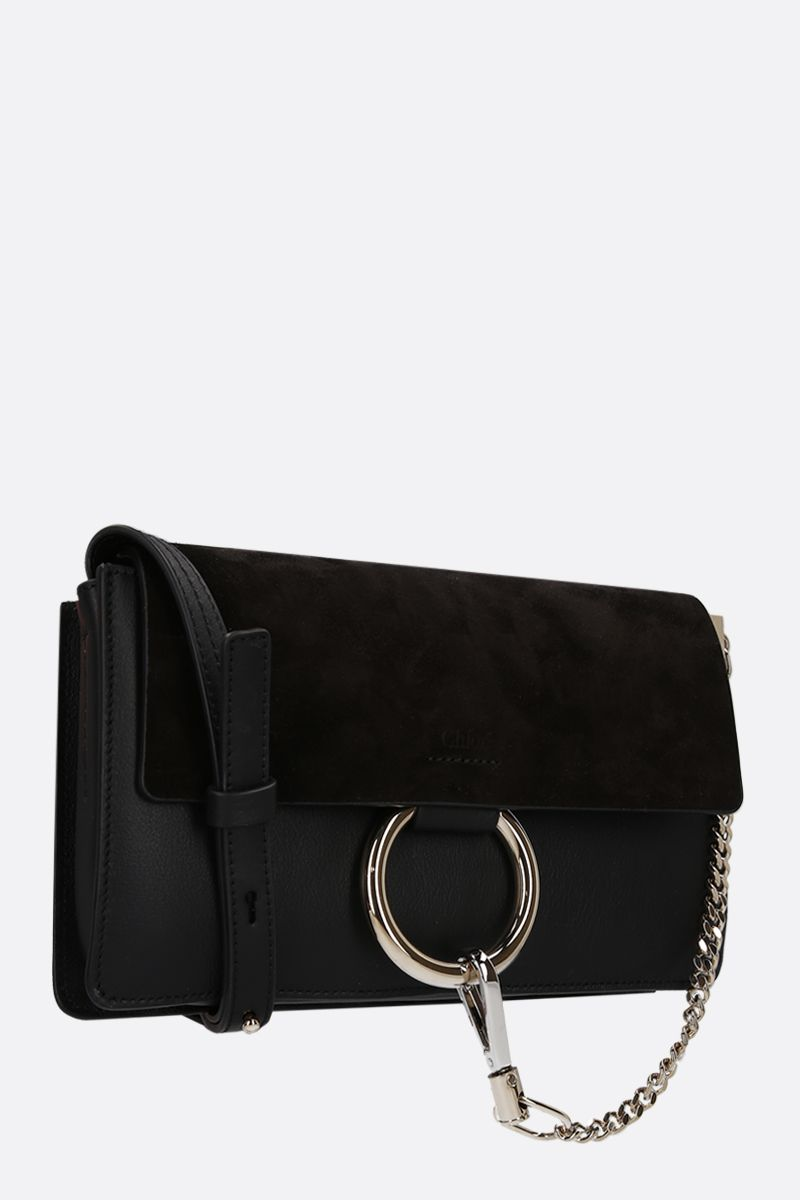 CHLOÈ: Faye small smooth leather and suede shoulder bag Color Black_2