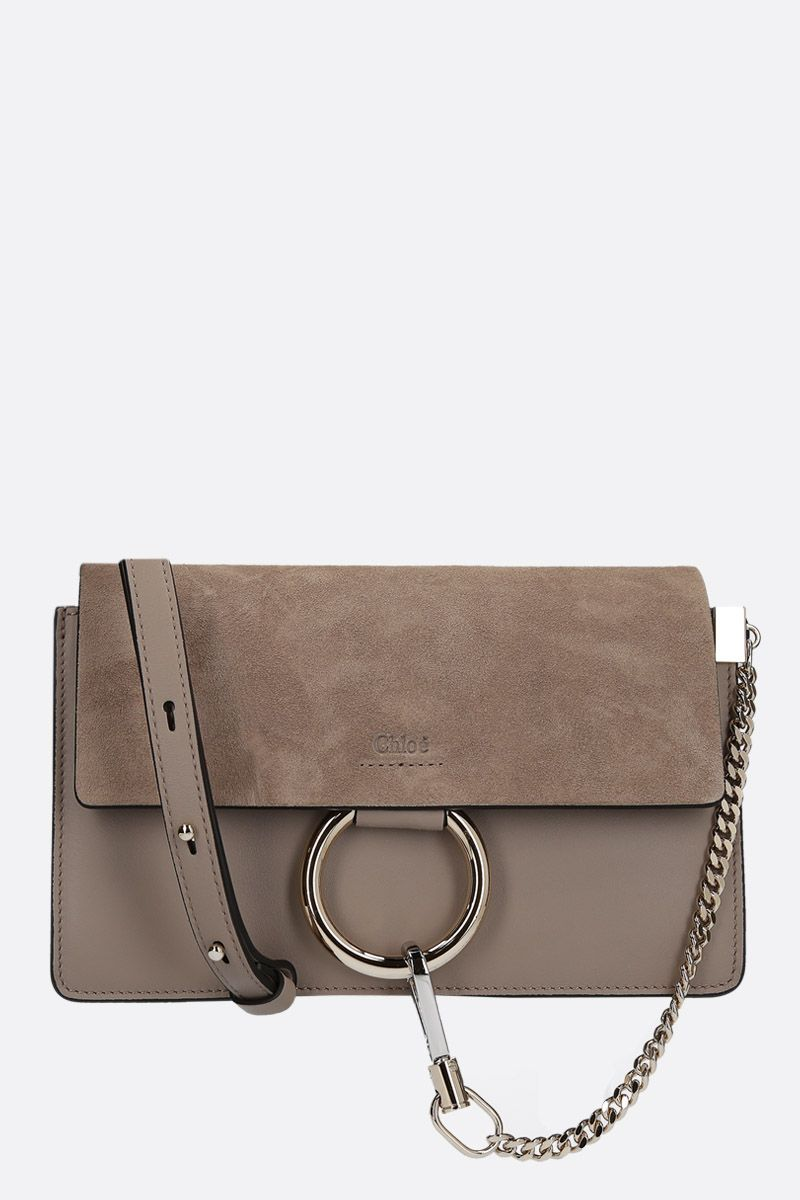 CHLOÈ: Faye small smooth leather and suede shoulder bag Color Grey_1