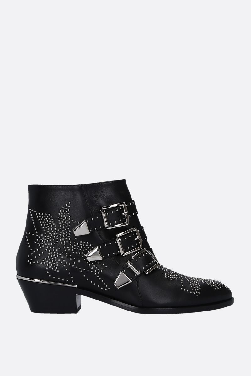 CHLOÈ: Susanna studded nappa leather western booties Color Black_1