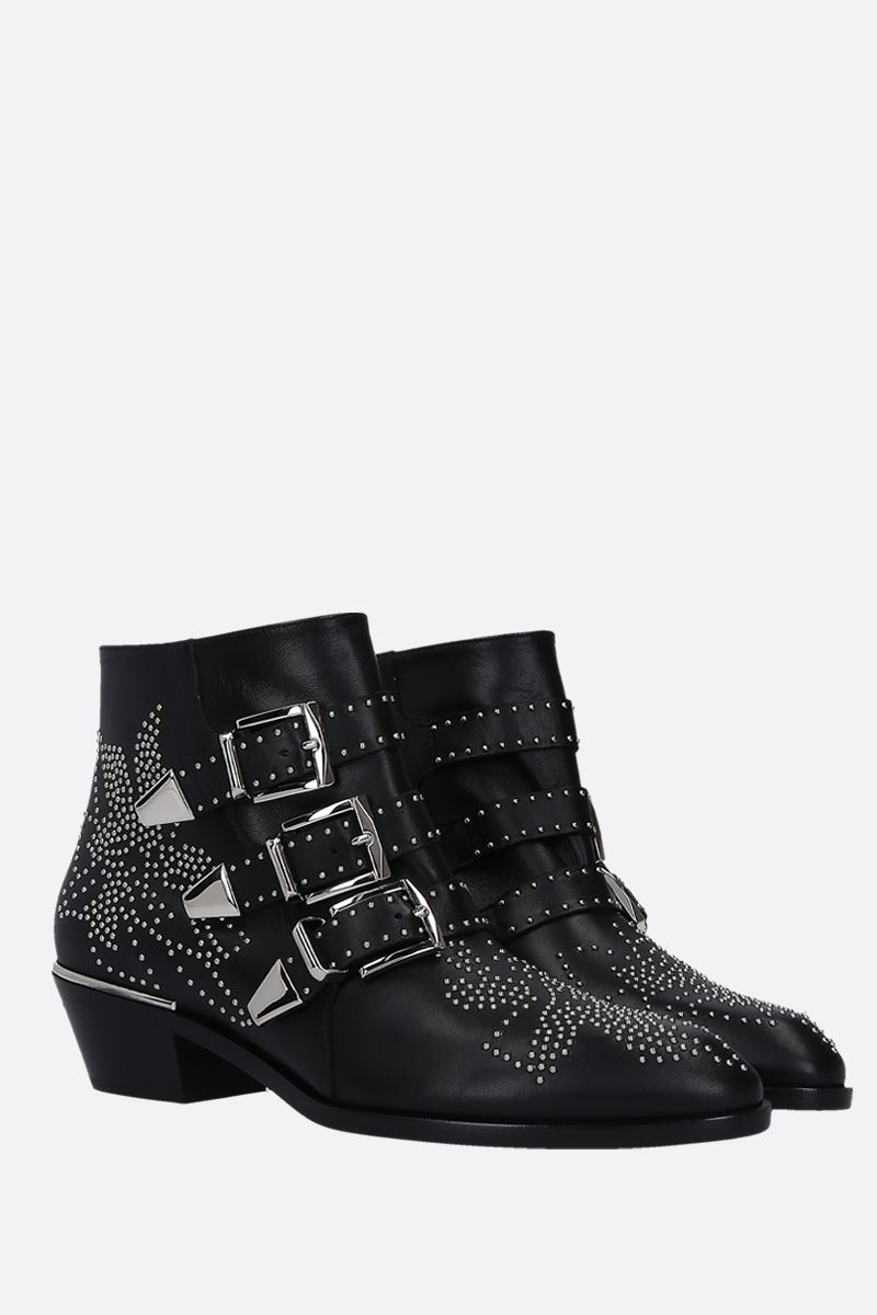 CHLOÈ: Susanna studded nappa leather western booties Color Black_2