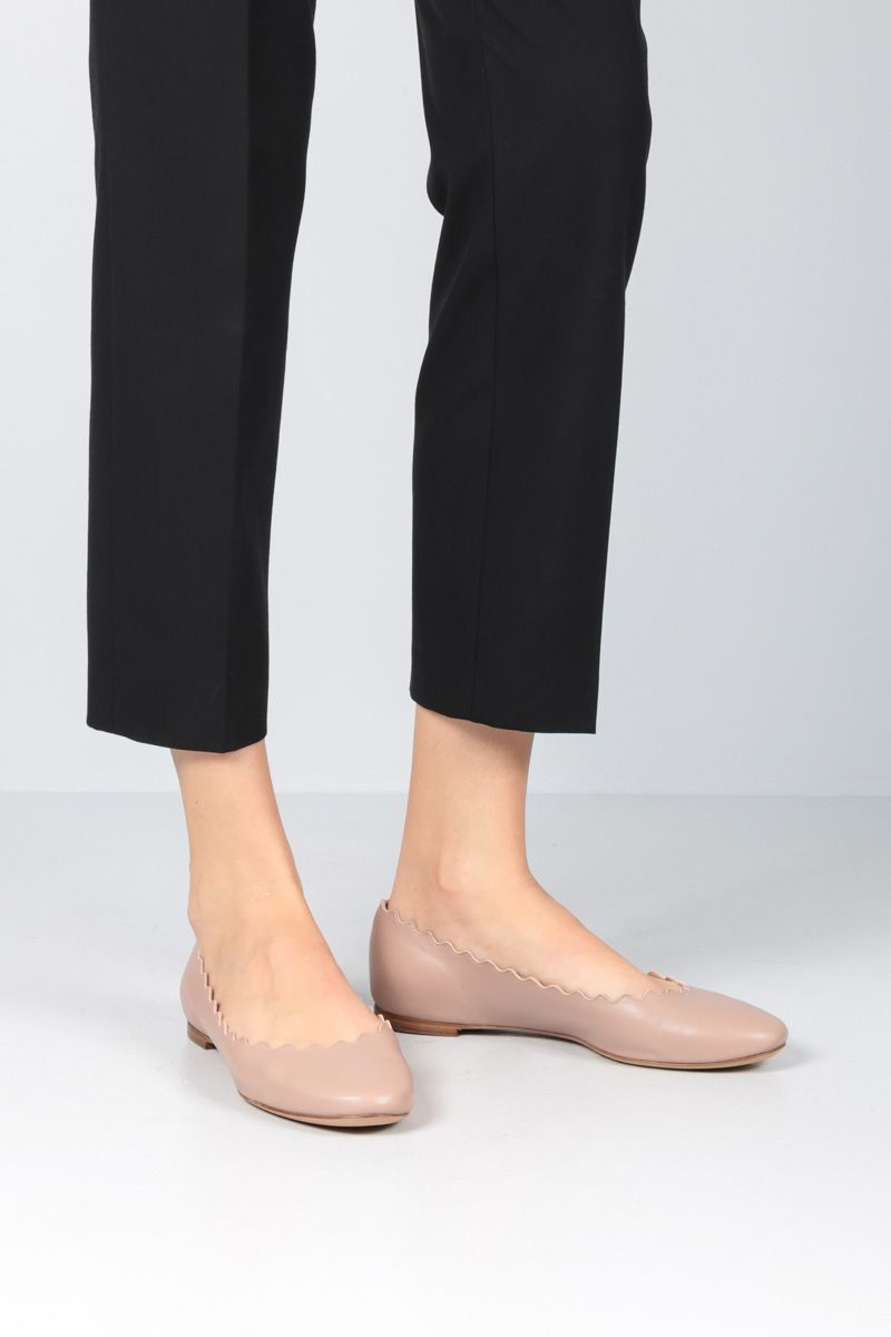 CHLOÈ: Lauren nappa leather ballerinas Color Pink_2