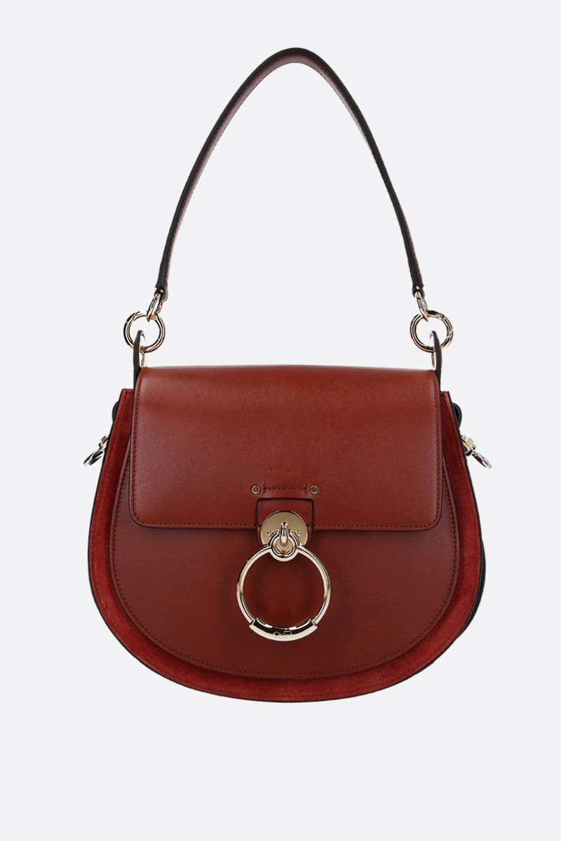 CHLOÈ: Tess large shiny leather and suede handbag Color Brown_1