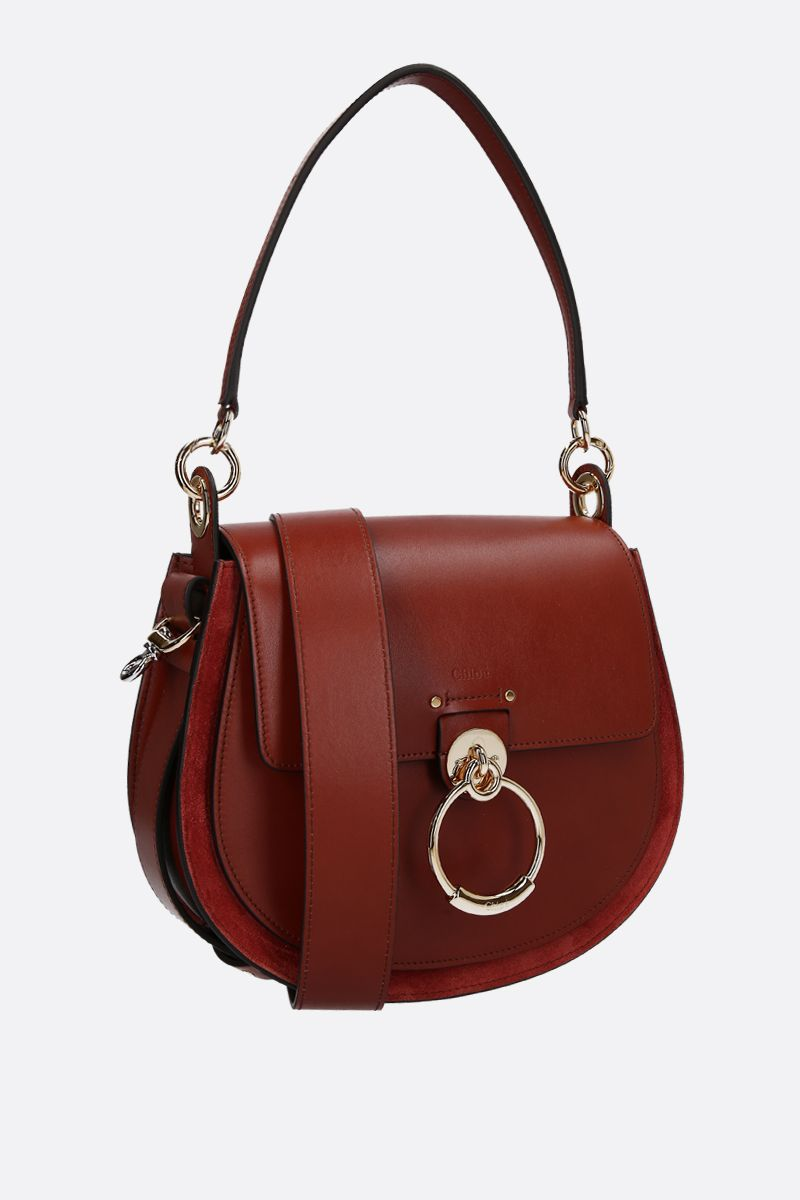 CHLOÈ: Tess large shiny leather and suede handbag Color Brown_2