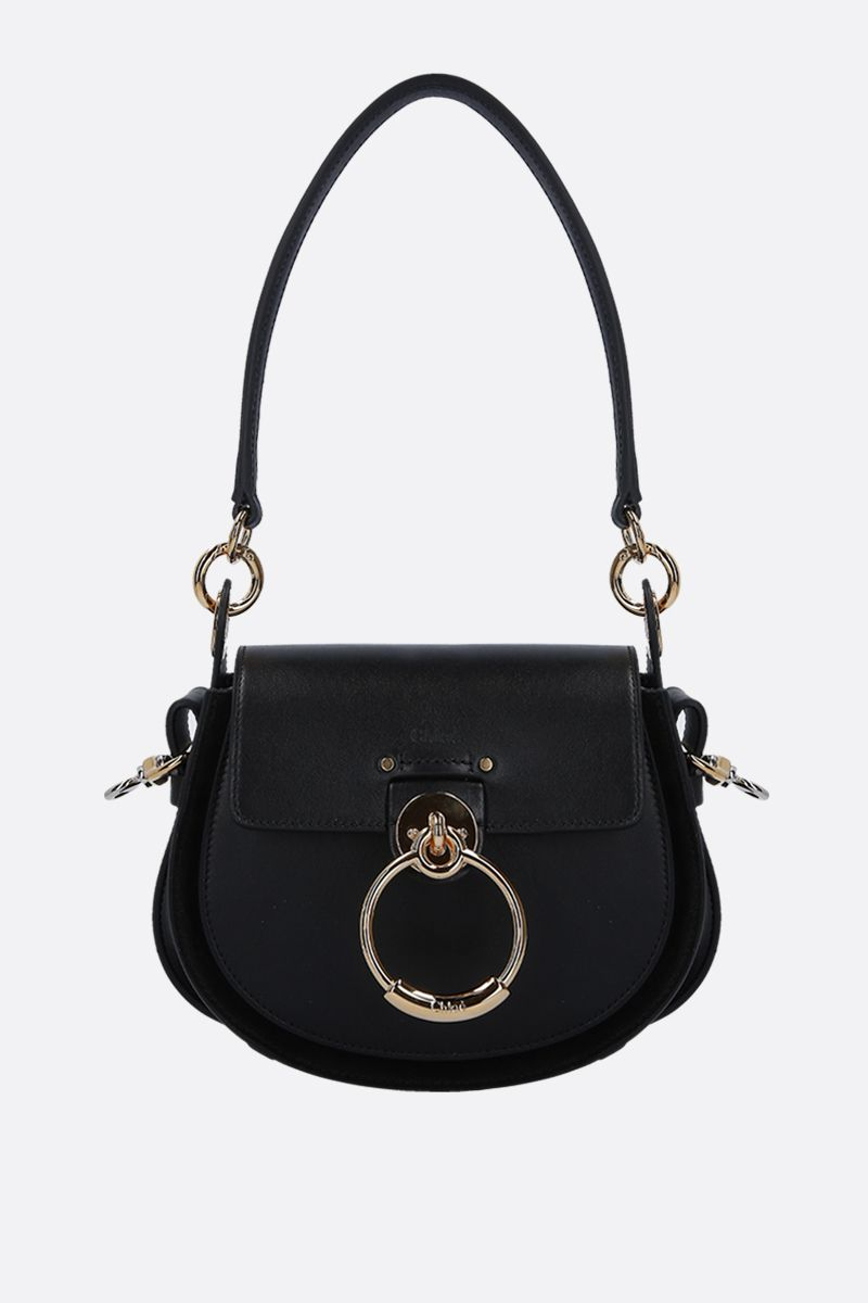 CHLOÈ: Tess small shiny leather and shoulder bag Color Black_1