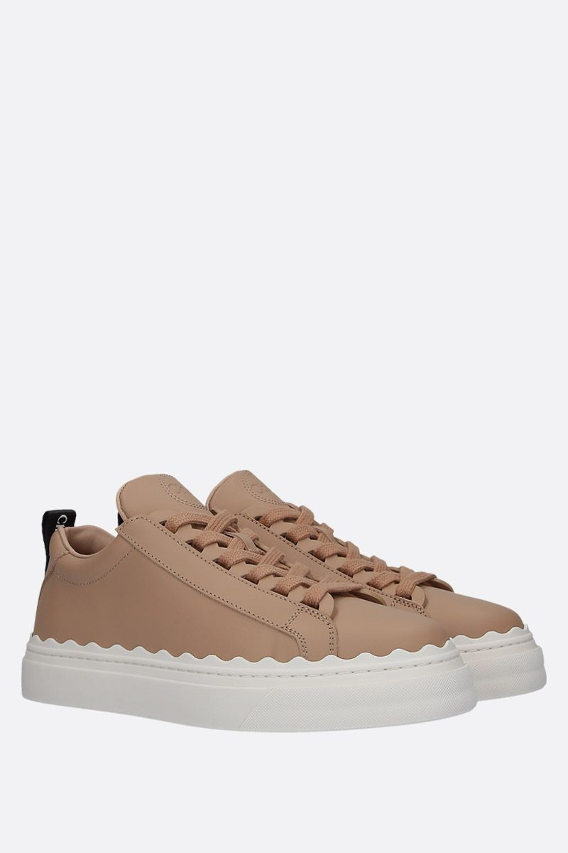 CHLOÈ: Lauren smooth leather sneakers Color Pink_2