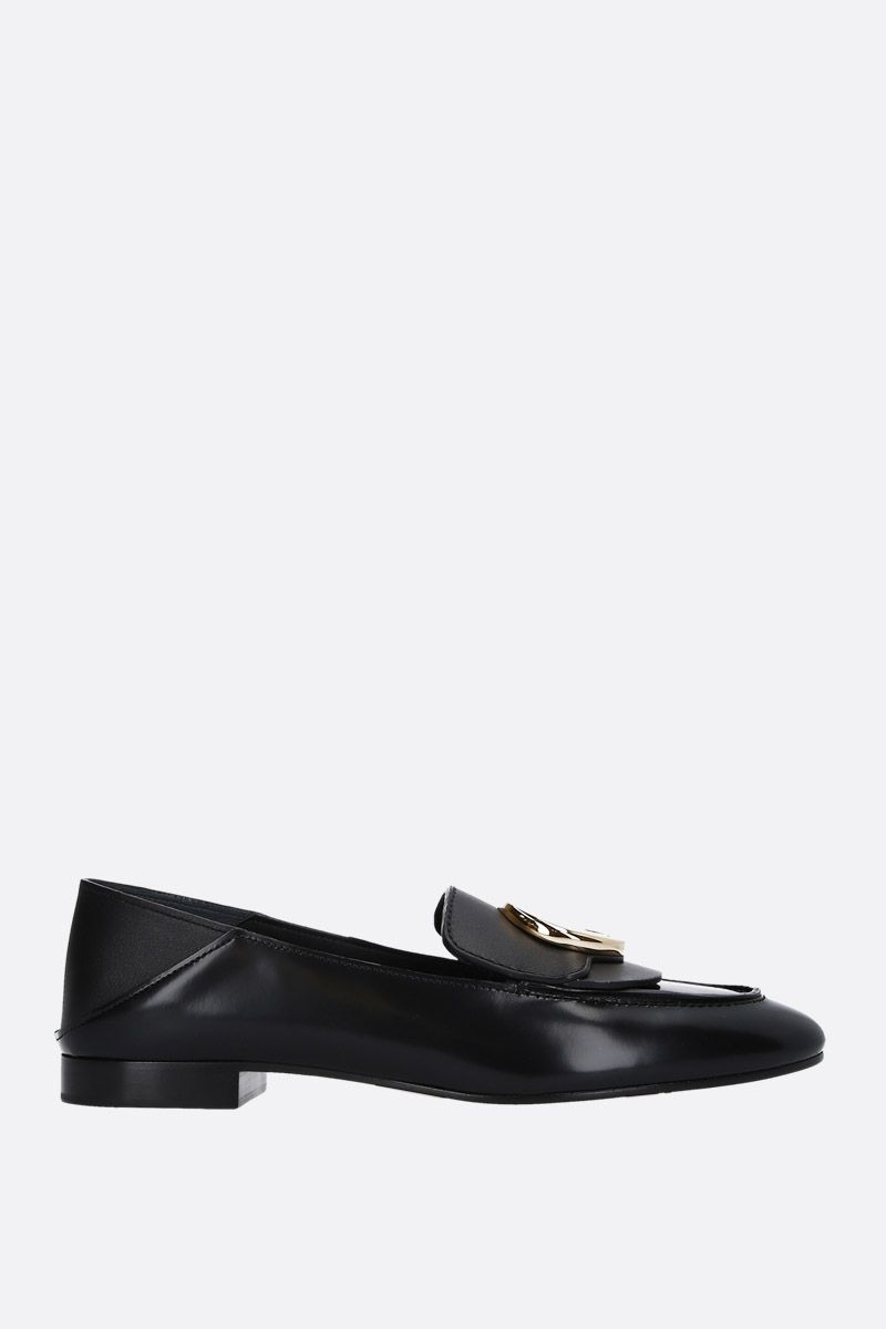 CHLOÈ: Chloè shiny leather loafers Color Black_1