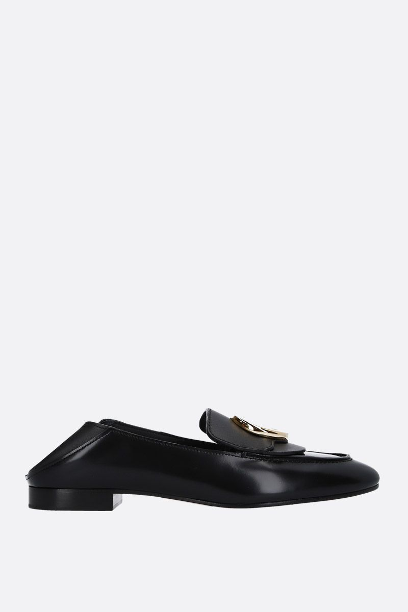 CHLOÈ: Chloè shiny leather loafers Color Black_2