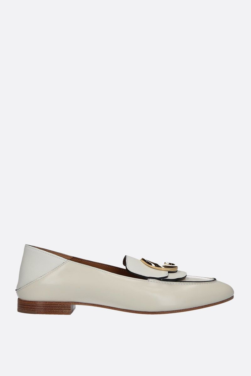 CHLOÈ: Chloè shiny leather loafers Color Neutral_1
