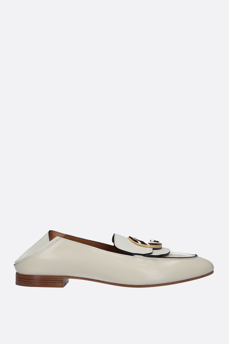 CHLOÈ: Chloè shiny leather loafers Color Neutral_2