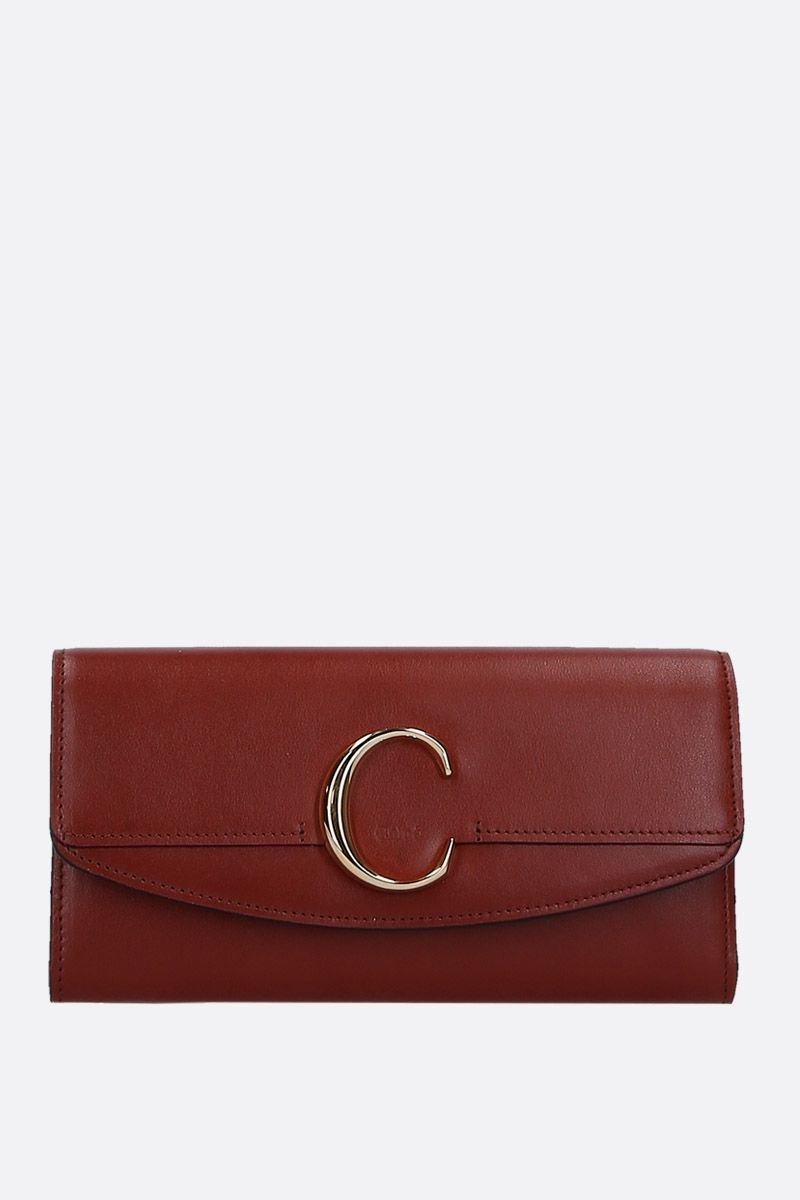 CHLOÈ: Chloè smooth leather flap wallet Color Brown_1