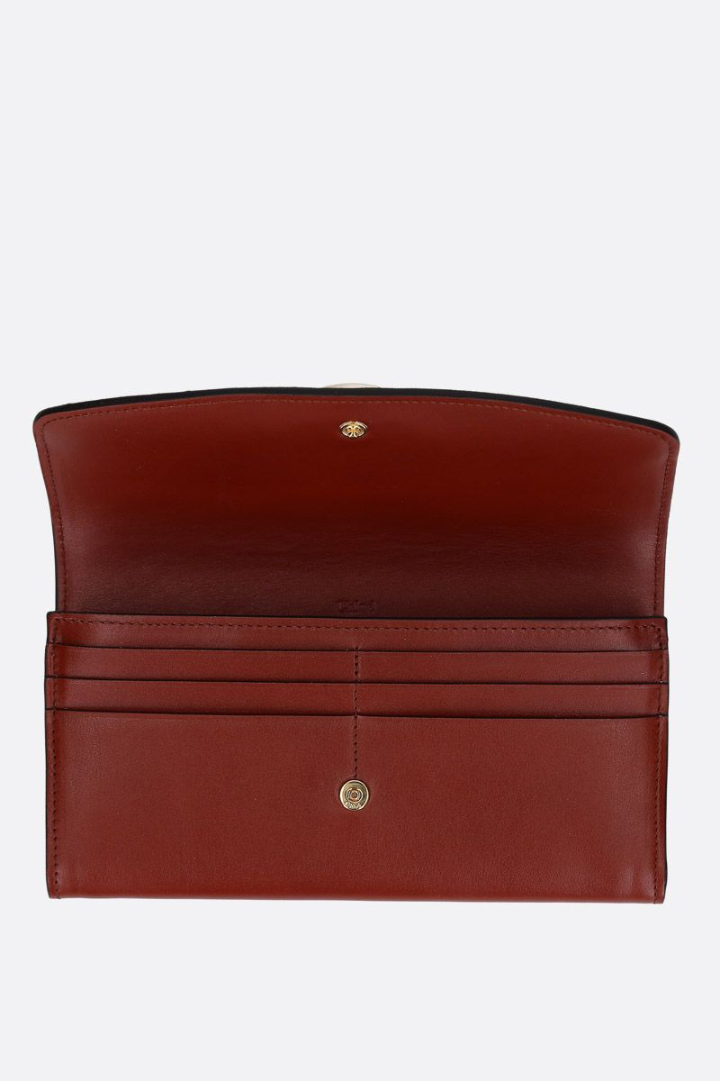 CHLOÈ: Chloè smooth leather flap wallet Color Brown_2