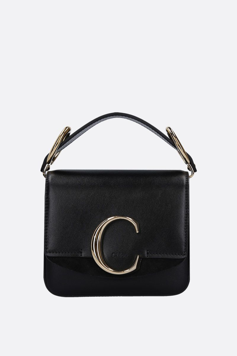 CHLOÈ: Chloè C mini smooth leather and suede shoulder bag Color Black_1