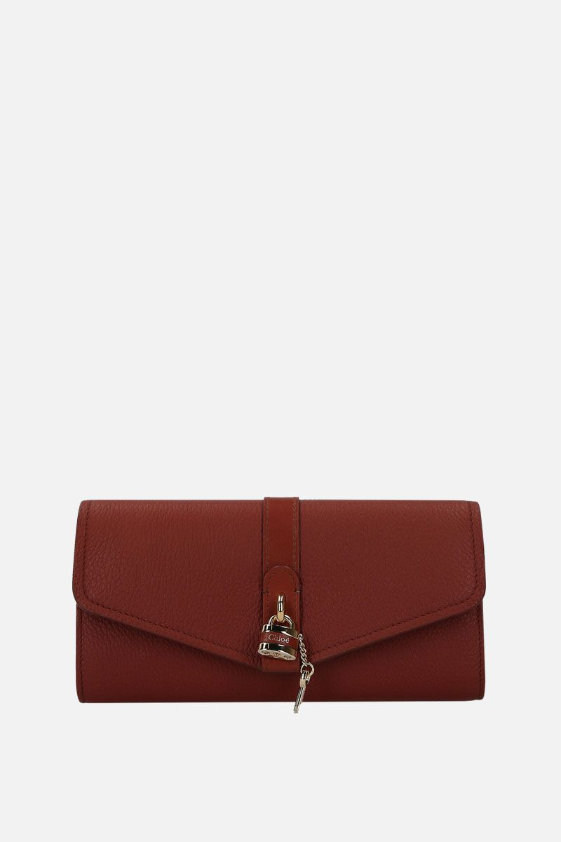 CHLOÈ: Aby grainy leather chain wallet Color Brown_1
