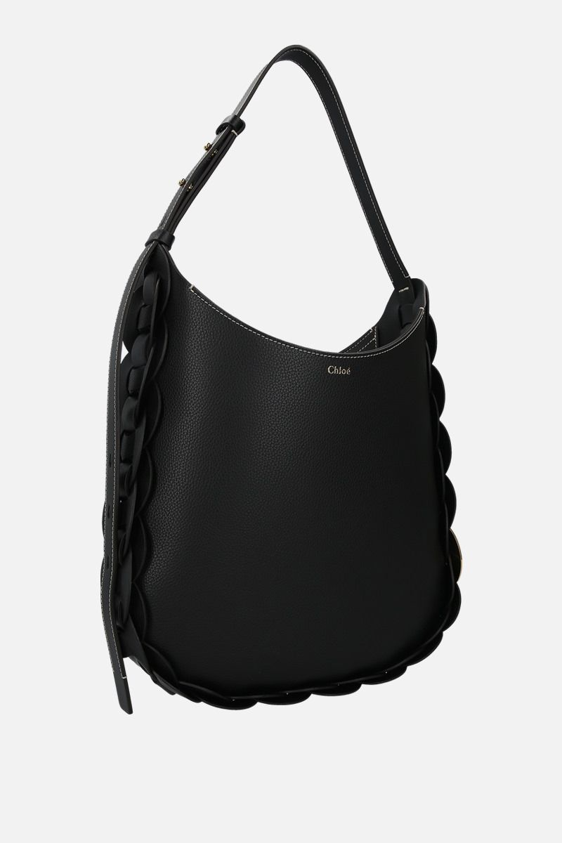 CHLOÈ: Darryl medium grainy leather shoulder bag Color Black_2
