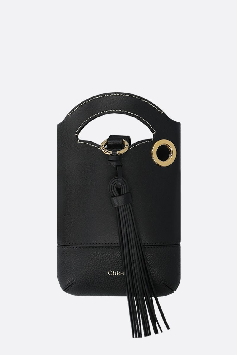 CHLOÈ: Walden smooth and grainy leather smartphone holder Color Black_1