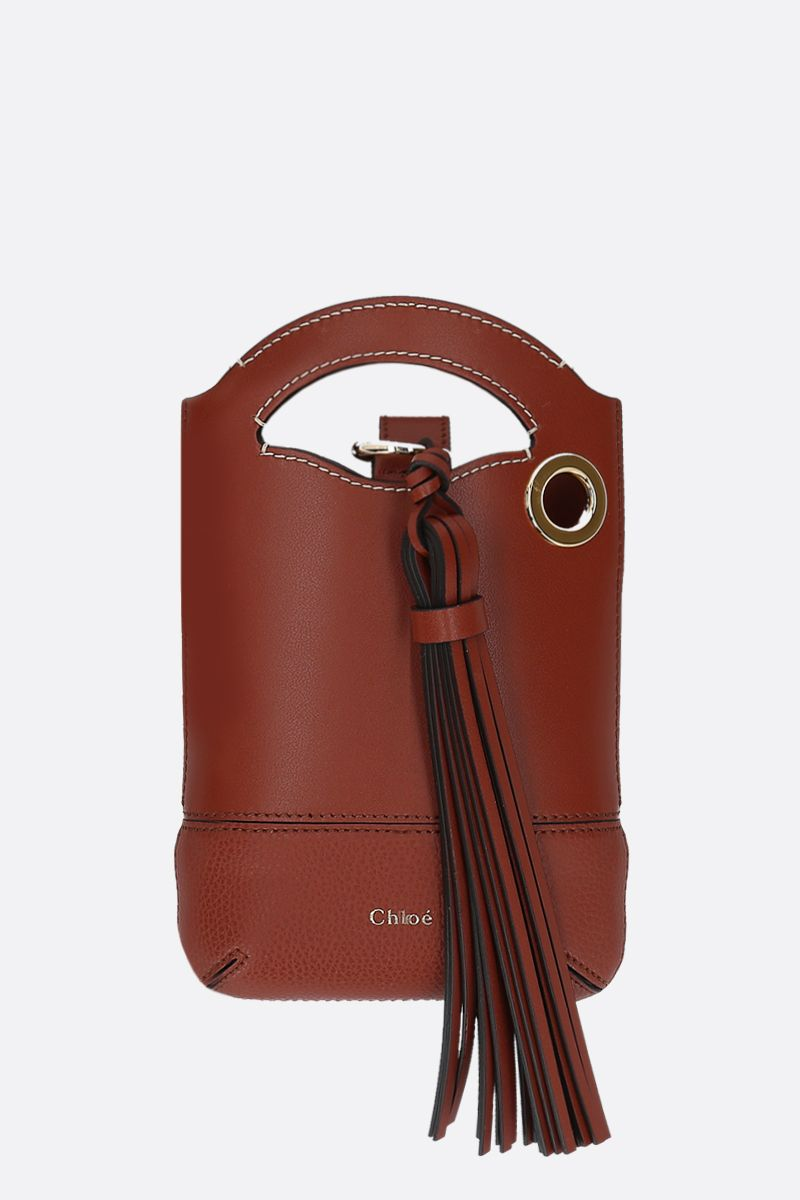 CHLOÈ: Walden smooth and grainy leather smartphone holder Color Brown_1