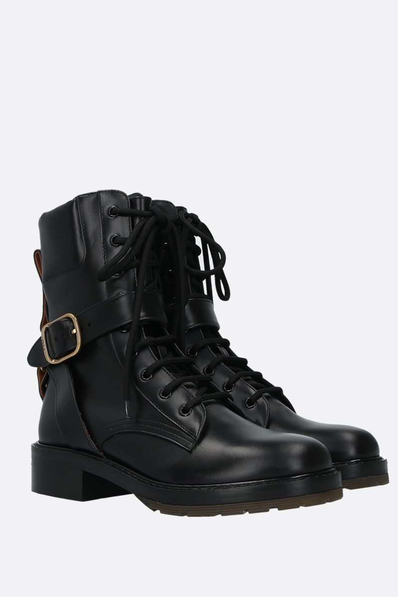 CHLOÈ: Franky smooth leather combat boots Color Black_2