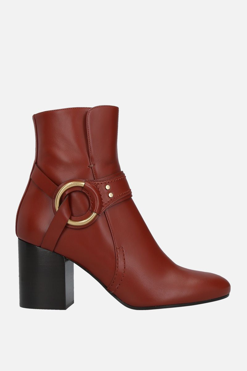 CHLOÈ: Demi shiny leather booties Color Brown_1