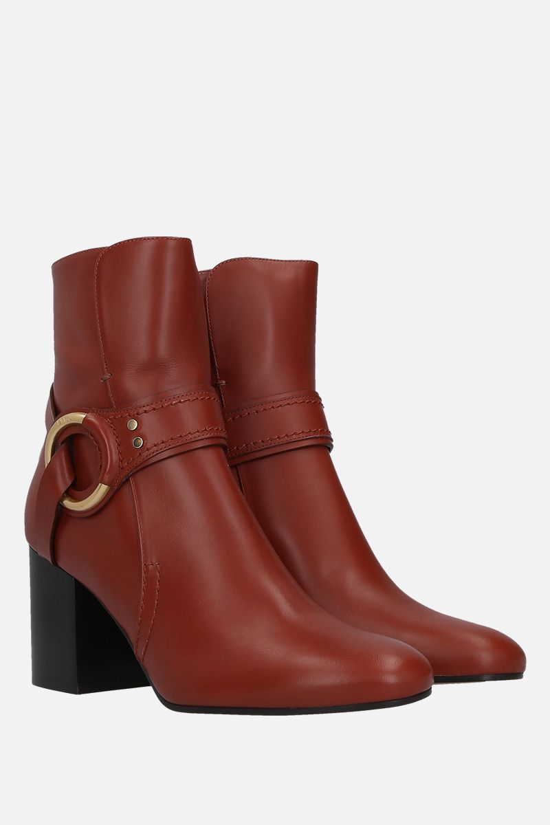 CHLOÈ: Demi shiny leather booties Color Brown_2