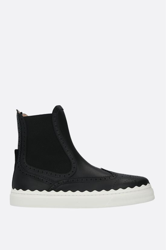CHLOÈ: Lauren smooth leather chelsea boots Color Black_1
