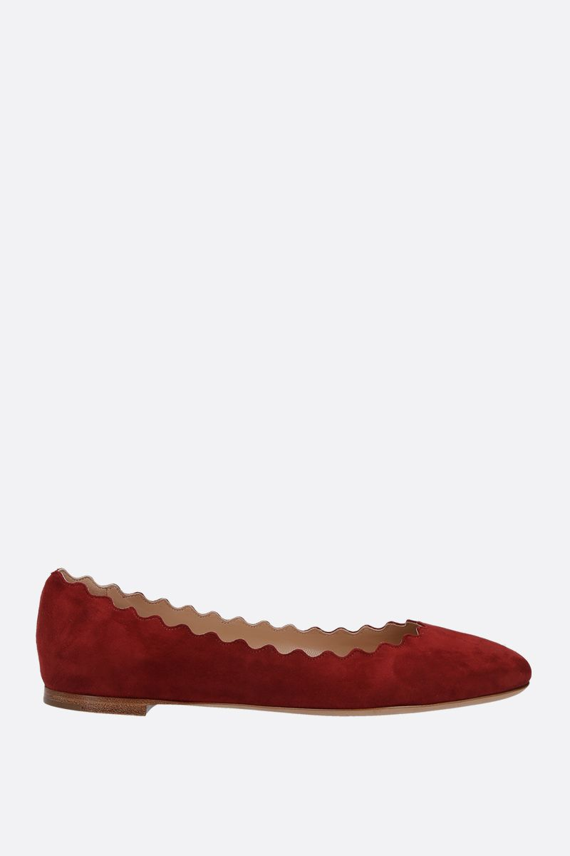 CHLOÈ: Lauren suede ballerinas Color Red_1
