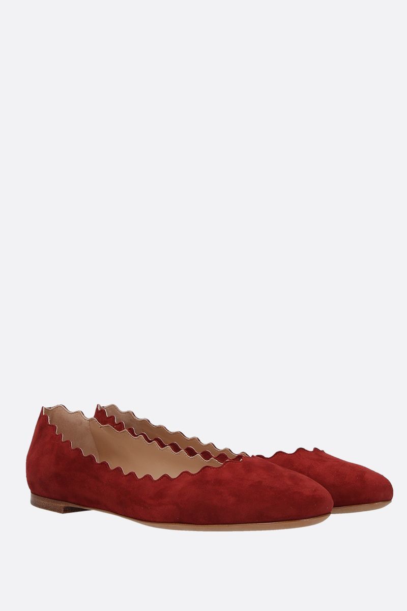 CHLOÈ: Lauren suede ballerinas Color Red_2