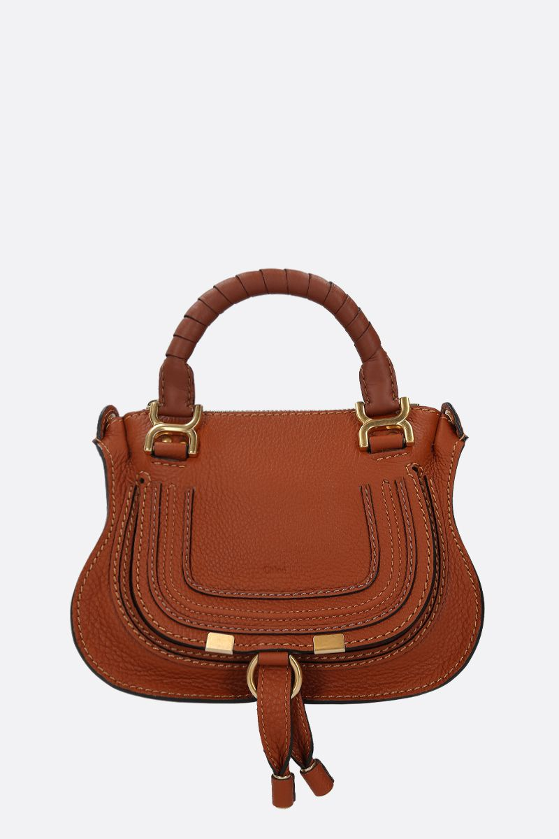 CHLOÈ: borsa a mano Marcie mini in pelle martellata Colore Marrone_1