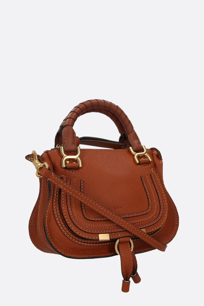 CHLOÈ: borsa a mano Marcie mini in pelle martellata Colore Marrone_2