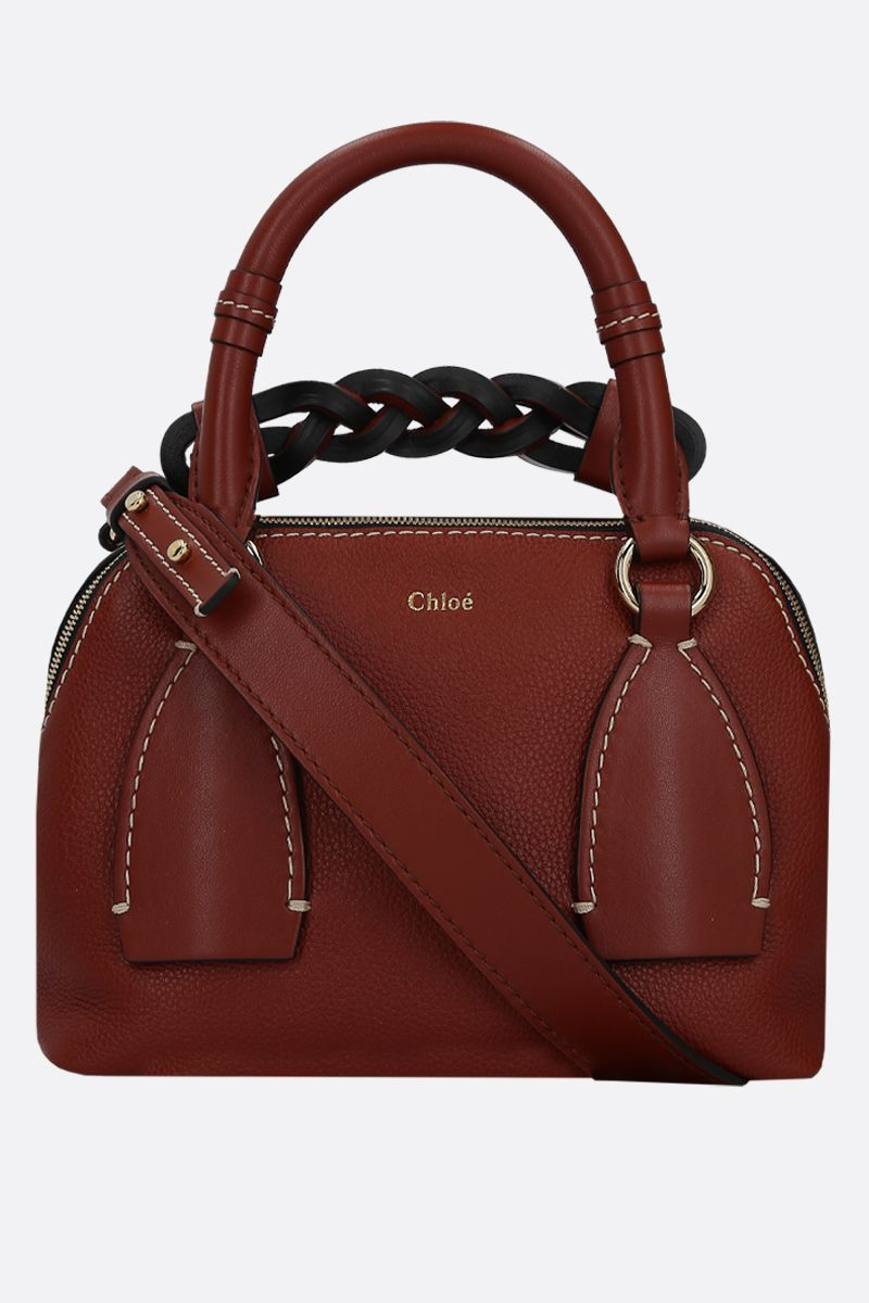 CHLOÈ: Daria medium smooth and grainy leather handbag Color Brown_2
